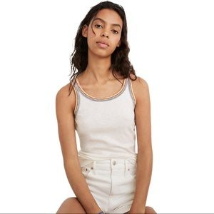 Madewell Rainbow Trim Tank Top Small Fitted